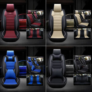 Deluxe Universal Pu Leather Car Seat Cover 5 Seat Front Rear Full Set Waterproof