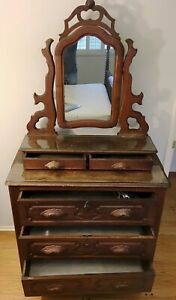 Dresser With Cheval Mirror Antique Victorian Style Solid Mahogany