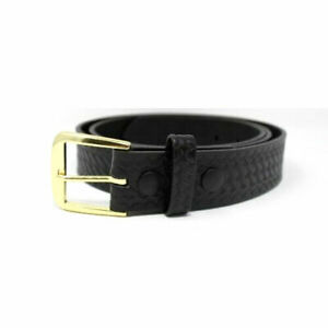 Boston Leather 6582 Off Duty Leather Garrison Belt 34 Brass Buckle Basket Weave