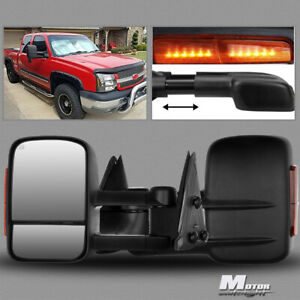 For 2003 2007 Gmc Yukon Yukon Xl Power heated Towing Mirrors led Amber pair