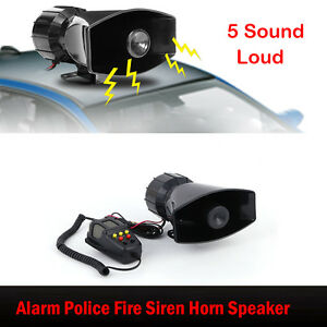 5 Sound Loud Auto Warning Alarm Police Fire Siren Air Horn Pa Speaker Mic System
