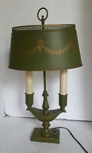Vintage Green Toleware Bouillotte 2 Arm Table Lamp