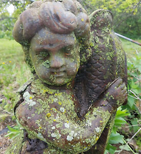 Large Cherub W Fish Vintage Unearthed Cast Iron Garden Ornament Statue Statuary
