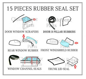 Mercedes W108 Door Window Windshield Trunk Rubber Seal Set 15 Pieces Kit