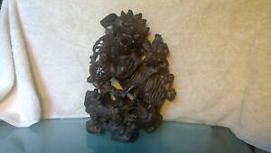 Intricate Antique Asian Foo Dog Wood Carving