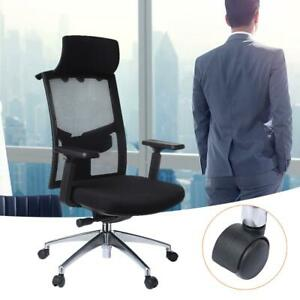 Ergonomic Office Chair Seat Adjustable Height Wheels Back Head Rest Black Chairs