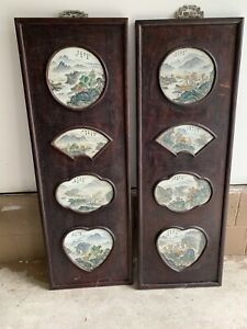 Antique 19c Chinese 8 Panels Porcelain Painted Plaques Of Various Sizes Screen