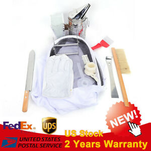 11pc Beekeeping Equipment Tool Bee Hive Smoker Brush Gloves Queen Cage Knife Us