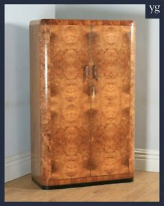 Antique English Art Deco Burr Walnut 2 Two Door Armoire Wardrobe Cupboard C 1930