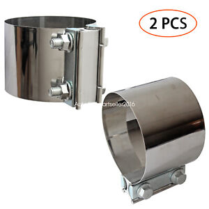 2pcs 4 Inch Exhaust Clamps Butt Joint Exhaust Pipe Muffler Clamp Stainless Steel