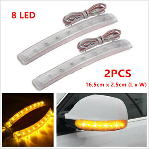2x Yellow Led Car Auto Side Mirror Amber Indicator Soft Turn Signal Light Strips