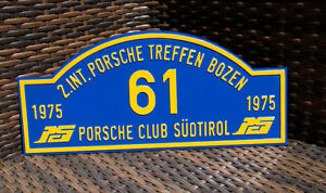 Vintage Automobile Car Rally Sign Porsche Club S dtirol Meeting Bozen 1975