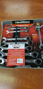 New Gearwrench 8 Piece Professional Ratcheting Combination Metric Wrench Set