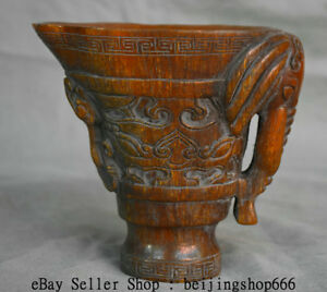 5 4 Xuande Marked Old Chinese Ming Ox Horn Dynasty Elephant Oxhorn Drinking Cup