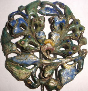 5 Chinese Antique Silver Enamel Hair Pin Ornament