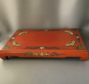 Vtg Lrg Asian Chinese Japanese Butterfly Flowers Tea Set Wood Display Tray Stand