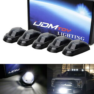 5pc Smoked Lens White Led Cab Roof Clearance Lights For 17 up Ford F250 F350 Sd