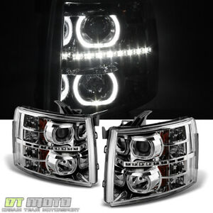 2007 2013 Chevy Silverado 1500 2500 3500 Smd Drl Led Halo Projector Headlights