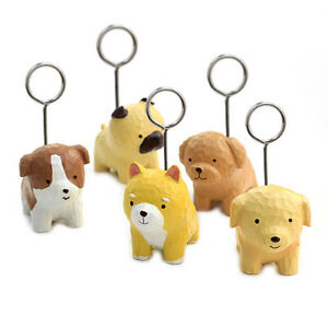 Cube Round Wire Photo Clip Memo Holder Message Display Resin Dog Base