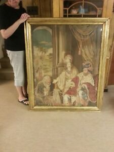Large Berlin Wool Work In Original Gold Leafed Frame Antique Embroidery