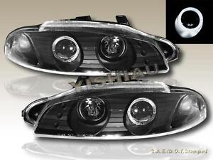 1997 1998 1999 Mitsubishi Eclipse Projector Headlights Black One Halo New