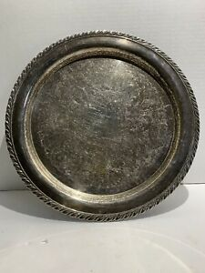 Oneida Usa 12 Round Vintage Silver Plate Serving Tray Etched Center