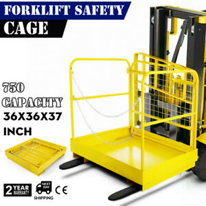 36 36 Forklift Work Platform Safety Cage Durable Built in Chains Yellow