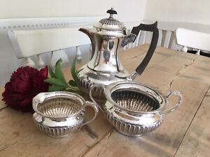 Vintage Epns Silver Coffee Set With Coffee Pot Creamer And Large Sugar Bowl