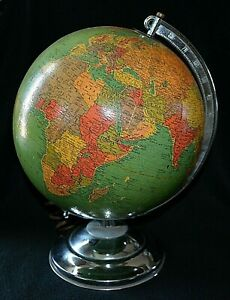 Vintage C Late 1950 S 10 Inch Replogle Library Legend Lighted Globe On Stand