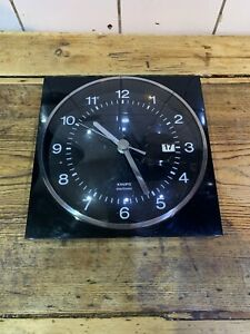 Black Mid Century 1975 Krups Electronic Wall Clock Excellent Cond Germany Vint