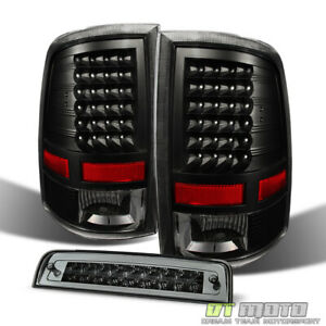 2009 2018 Dodge Ram 1500 2500 3500 Blk Tail Lights led 3rd Rear Brake Cargo Lamp