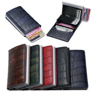 Auto Credit Card Holder Leather Rfid Blocking Small Metal Wallet Money Clip Gift