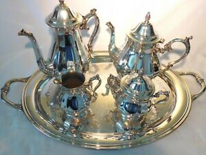 Antique Silver Plate Tea Coffee Set International Silver Co 5 Pieces