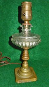 Antique Lamp Clear Pressed Glass Table Brass Pillar Base Small Decor