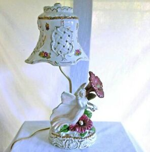 Vintage Hollywood Regency Lamp Pottery Angel Hibiscus Matching Ceramic Shade