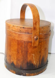 Firkin Primitive Wooden Sugar Bucket With Handle Lid Antique
