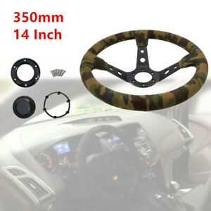 1pc 14 Racing Car Deep Dish Suede Green Camouflage Steering Wheel Hand Stitched