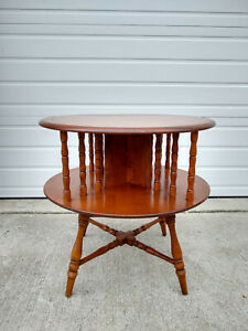 Vintage Sprague Carleton Maplelux Maple Library Side Table 1950 Round