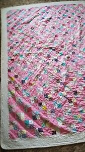 Antique Crazy Quilt Pink Patched Grand Condition 81 1 2 X 63