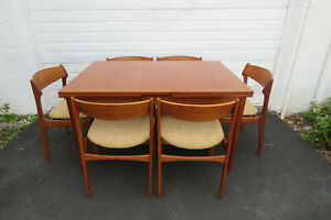Danish Dining Set Of Retracting Table By Slagelse And 6 Chairs By Od Mobler 9758