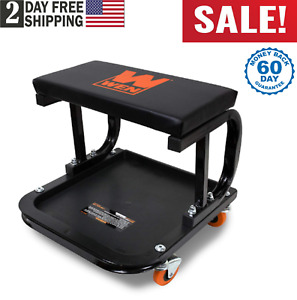 Mechanic Creeper Seat Garage Rolling Work Shop Stool Cart Tray Storage Cart Ch
