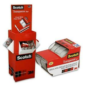 New 217689 Scotch Transparent Tape 2 pack Display 3 4 144 pack Cheap