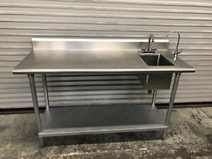 60 X 24 All Stainless Steel Table Sink Food Prep Work Station Nsf 9787