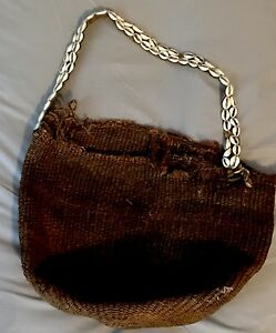 Antique Very Old Hand Woven Gathering Basket Bag Cowrie Shells Africa Primitive