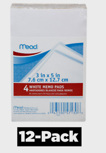 Mead Memo Pad 3 X 5 Scratch Paper Note 50 Sheets Dispenser Type 12 Pcks Of 4