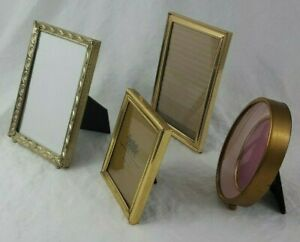 Lot Of 4 Vintage Metal Picture Frames Two 5x7 One 3 5x5 One 2 5x3 5 Oval