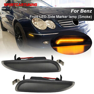 Front Led Side Marker Light Bumper Lamp Smoked For 03 09 Mercedes W209 A209 Clk