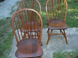 3 Antique Vintage Cushman Windsor Chairs Arts Crafts Set Of 3 Bennington Vt