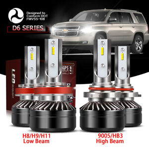 Csp Led Headlight Kit H11 9005 6000k White Hi Lo Bulbs For Chevy Tahoe 2007 2019