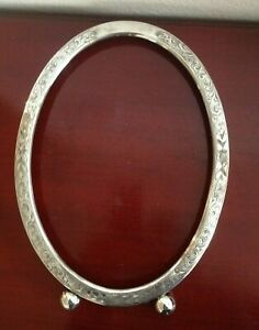 Vintage 830 Sterling Silver Floral Ornate Oval Mirror Picture Frame 93g 7 5x10